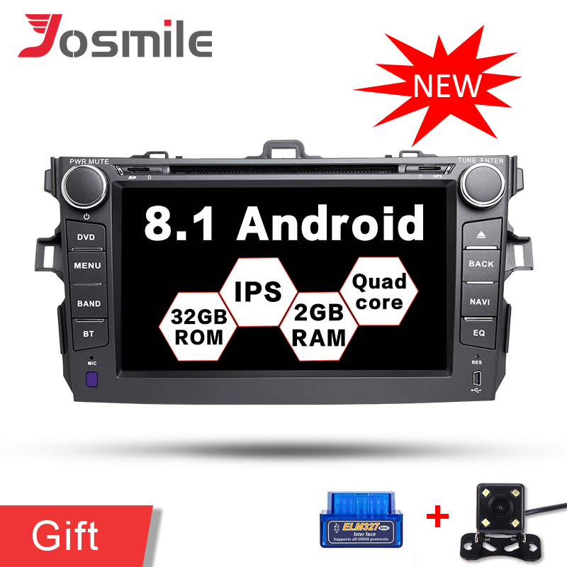 8 Inch 2 Din Car Stereo Android 8.0 Car DVD GPS Player For <font><b>Toyota</b></font> <font><b>Corolla</b></font> 2007 2008 2009 2010 <font><b>2011</b></font> DAB+ OBD2 Wifi SWC <font><b>Multimedia</b></font> image