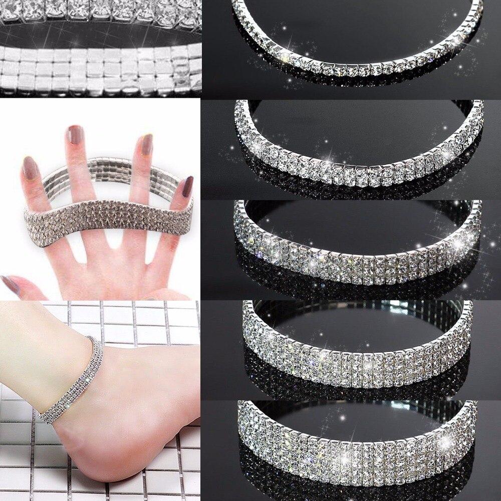 Treazy Cristal Color Tobilleras Mujeres Estiramiento Plata Moda 4AR5L3jq