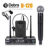 Debra Audio D 120 2 Channel with Handheld or Lavalier & Headset Mic UHF Wireless Microphone System with XLR for karaoke