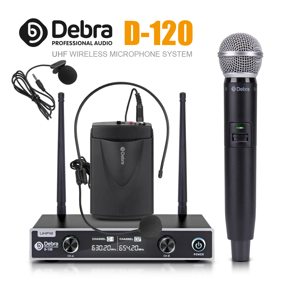 Debra Audio D-120 2 canaux avec micro portatif ou Lavalier et casque micro UHF sans fil avec XLR pour karaoké