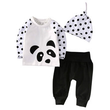 Hot Toddler Kid Baby Boy Girl Autumn Clothes Cotton T-Shirt Raglan Long Dot Sleeve Tops Pants Leggings Hat 3pcs Suit Outfits Set