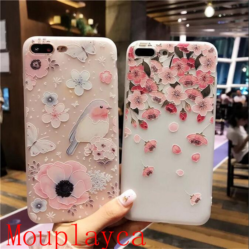 Mouplayca Case For iPhone 6 6splus 7 7plus Charactizing White frosted embossment TPU back cover Phone case++gift