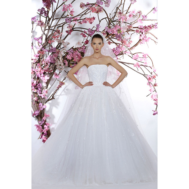 Aliexpress.com : Buy Fabulous Pure White Wedding Dresses Strapless ...
