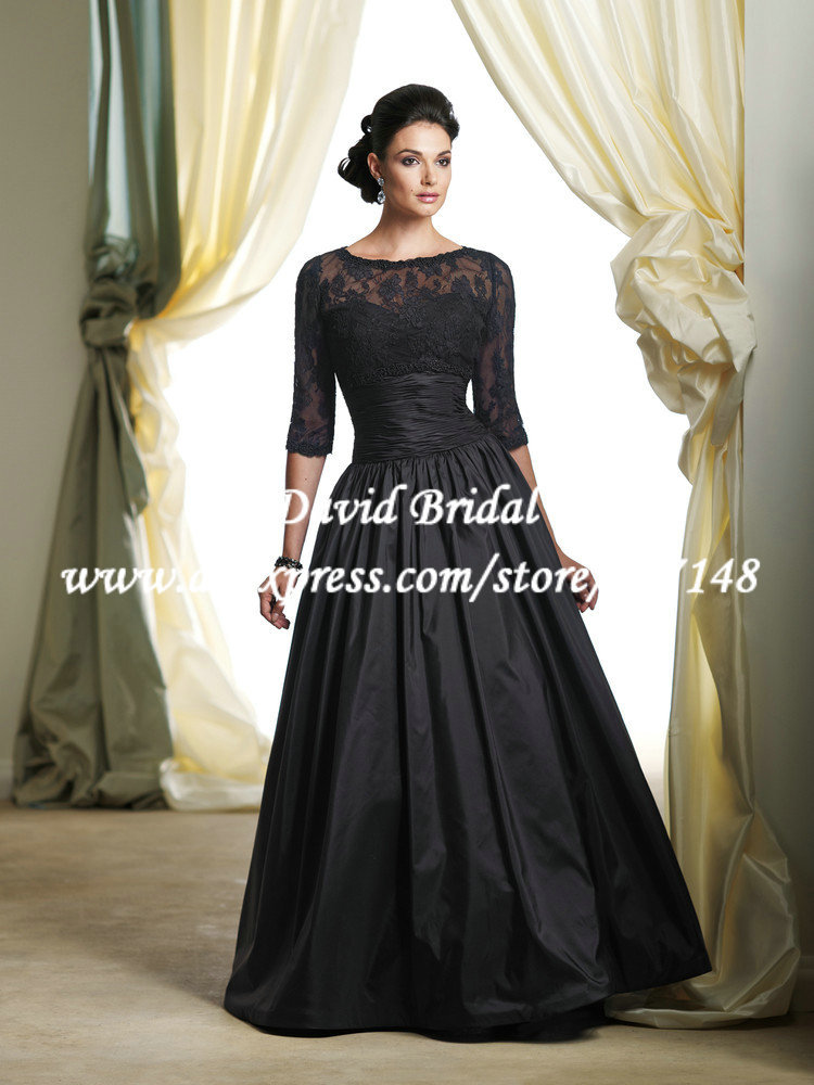 Floor length illusion two piece taffeta a line black for Black lace jacket for wedding dress