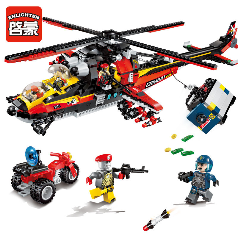 все цены на AIBOULLY Enlighten 654Pcs City Police Ghost Recon Helicopter Model Building Kits minis Blocks Brick Kids Toy Compatible онлайн