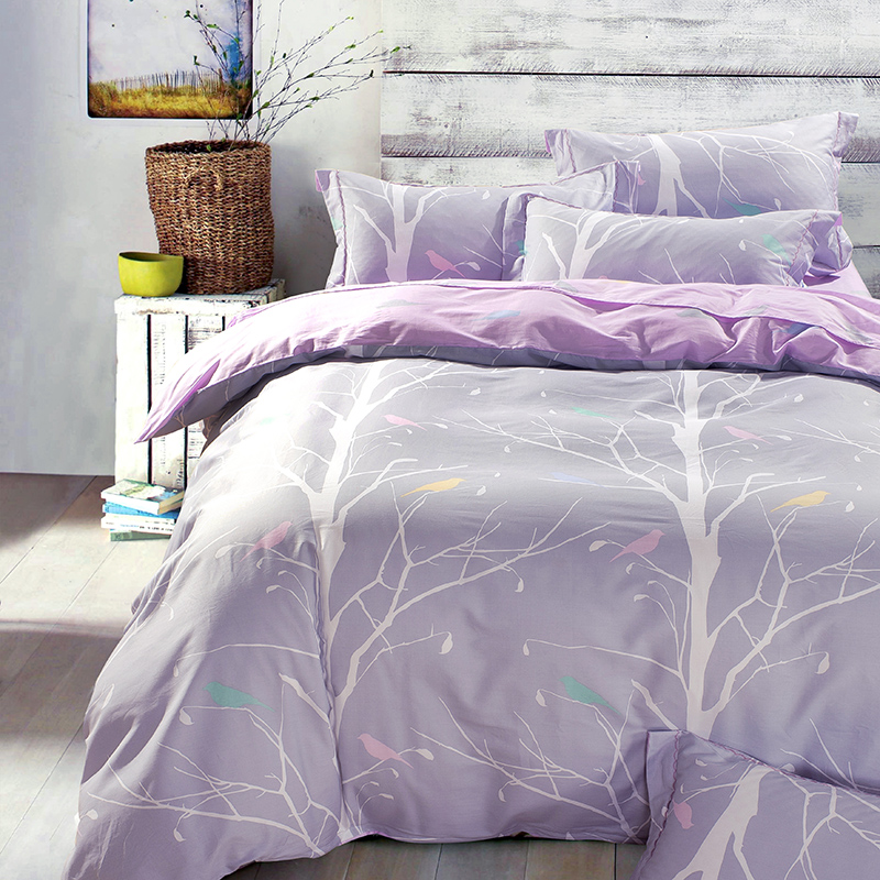 Country Style Tree And Bird Bedding Set Queen Size King Size Cotton Fabric Textiles Duvet Cover Bed Sheets Bedroom Sets For Sale