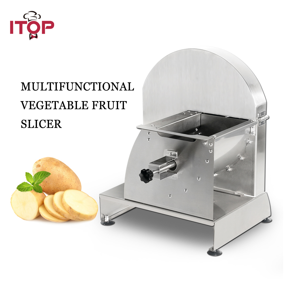 ITOP Stainless Steel Vegetable Fruit Slicers Manual Potato Tomato Carrot Cutter Machine Kitchen Accessories Commercial Use