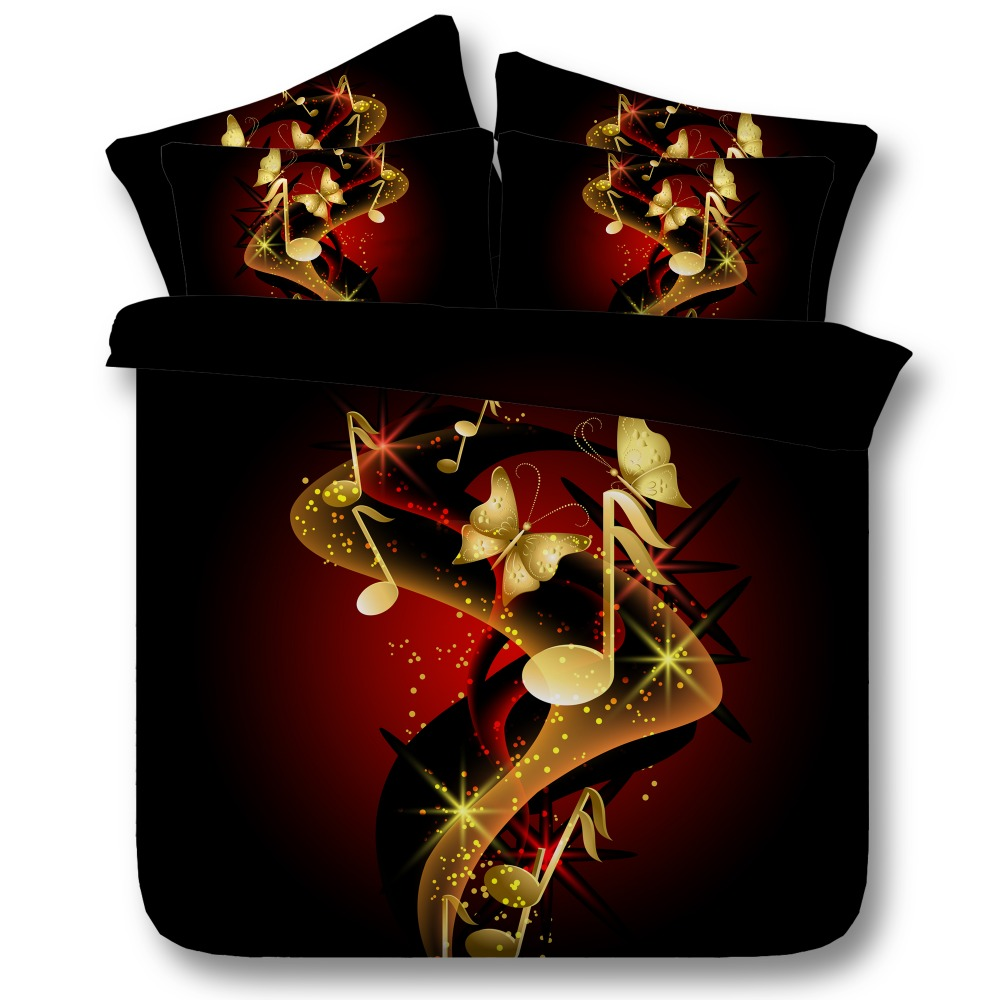 6 Parts Per Set Bed Sheet Set Gorgeous Gold Butterfly and Music Notes 3d Bed linen set
