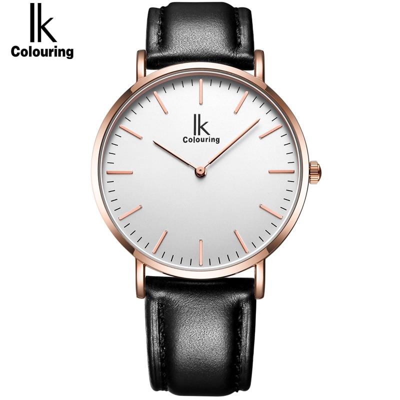 IK colouring Ultra Thin Minimalist Men's Watch Top Brand Luxury Genuine Leather Strap Fashion Casual Quartz Watch Business Man цена