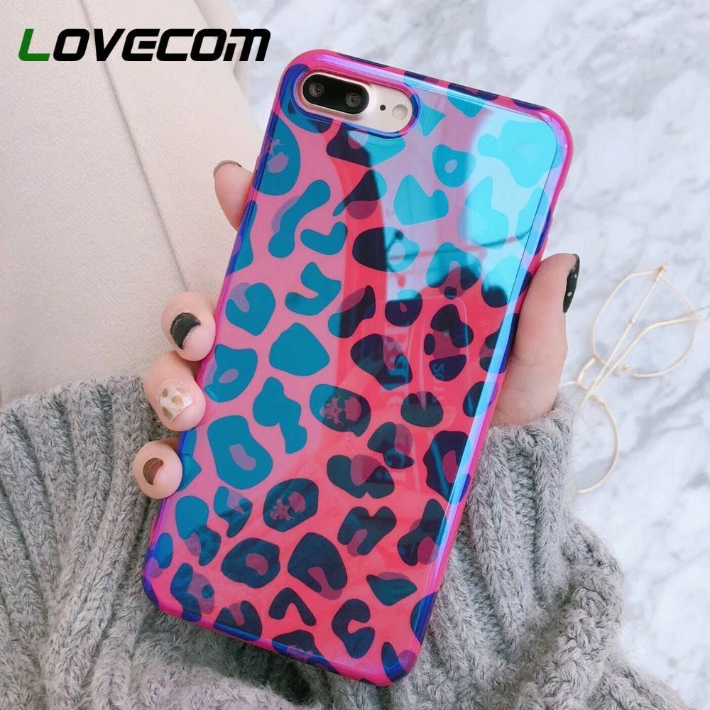 LOVECOM Blu-Ray Phone Case For XS XR XS Max X <font><b>8</b></font> 7 6 6S Plus Laser Rose Red <font><b>Sexy</b></font> Leopard Soft IMD Fashion Phone Back <font><b>Cover</b></font> Cases image