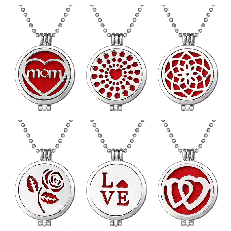 Beauty Aromatherapy Jewelry Essential Oil Diffuser Necklace Love Rose Mom hearts Open Perfume Lockets Pendants Women Girls Gift