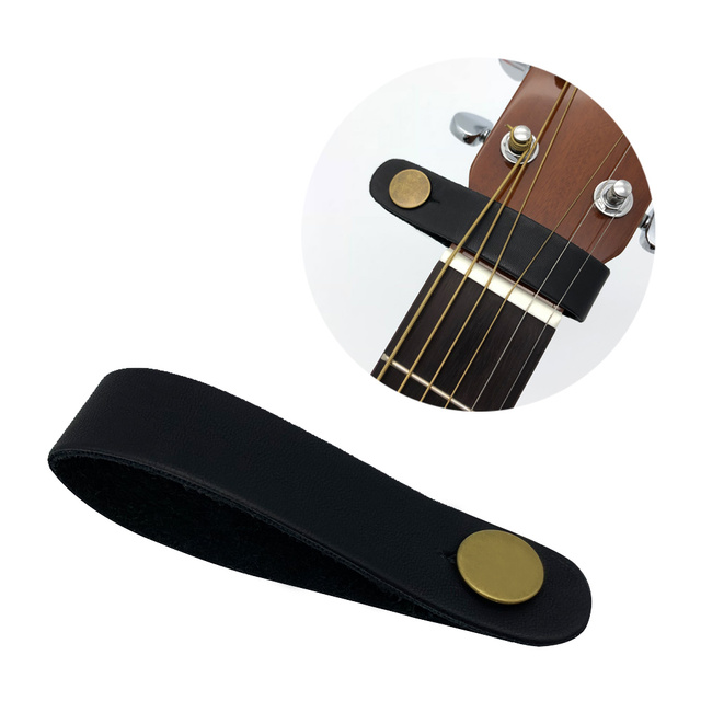 Leather Guitar Neck Holder Strap Safe Lock Button With Electric
