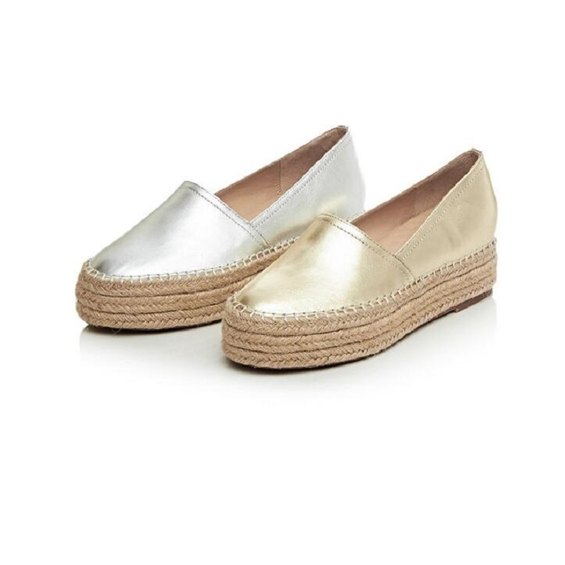 ФОТО Genuine Leather Flat Platform Shoes Woman New 2017 Casual Loafers Gold Silver Flats Slip-On Women Shoes DXM296562
