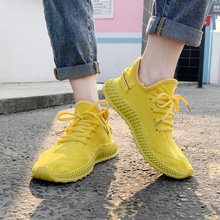 Free shipping new womens shoes flat yellow breathable flying woven sneakers mesh vulcanize