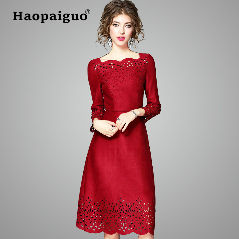 S XXL Plus Size Spring China Red 2019 New Year Woman Dress Elegant Hollow Out Chamois