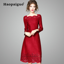 S-XXL Plus Size Spring China Red 2019 New Year Woman Dress Elegant Hollow Out Chamois Office Dress Women Winter Leather Dresses 1917 russia s red year