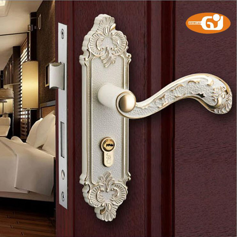 European design zinc alloy material bedroom interior door handle lock anti-theft ivory color Детская кроватка