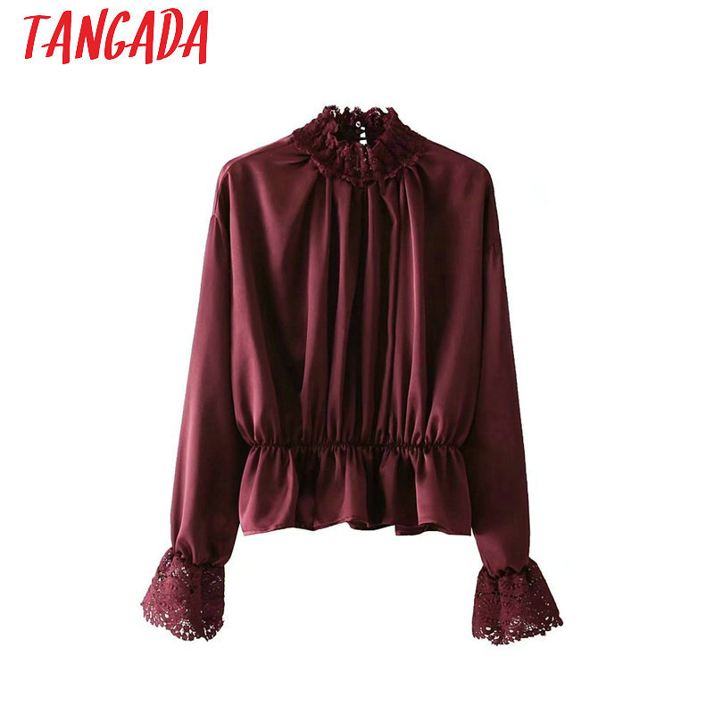 Buy ruffle blouse wine and get free shipping on AliExpress.com 720b1c3388a7