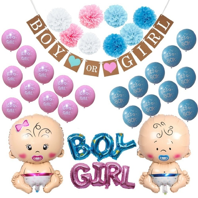 Gender Reveal Party Supplies Kit Paper Pom Poms Balloons Banner