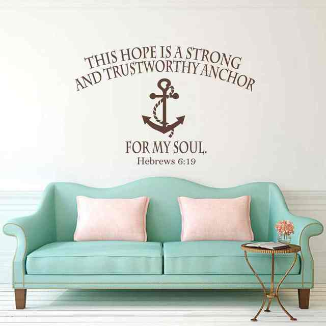 Bible Verse Wall Decal   Hope Anchors The Soul Hebrews 6:19 Wall Decals  Nautical Anchor Scripture Vinyl Lettering Home Decor