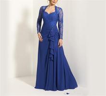 Шифоновое платье для матери невесты с длинными рукавами и аппликацией