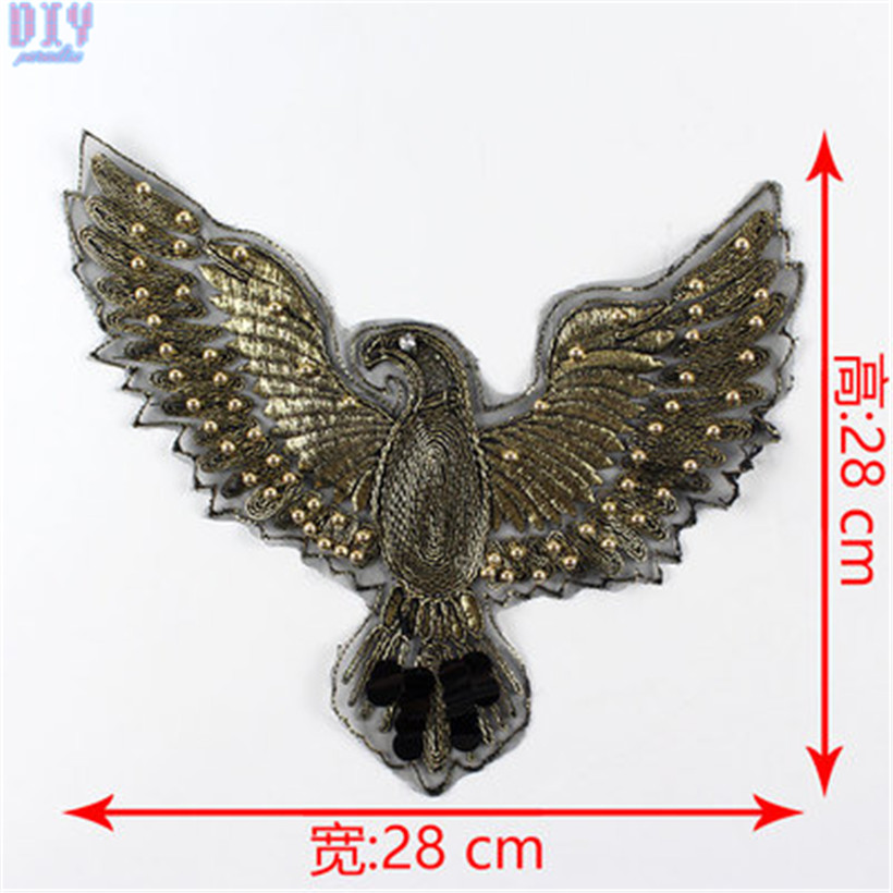 Clothes Wings Design Sequins Motif Applique Embroidered Iron On Patches Stick PI