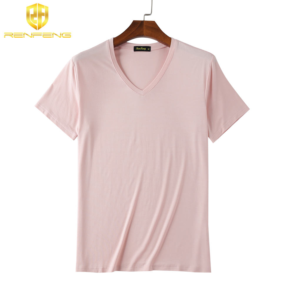 Man\`s Clothes breathable Bamboo Fiber Short Sleeve Tank Night Shirts Undershirt Underwear Mens V-neck Under shirt Man 4 colors (4)