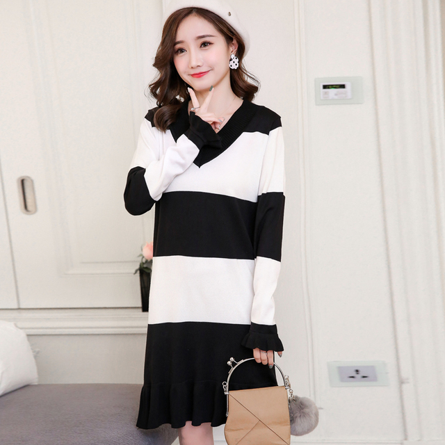 87bba78b2b76c0 Pengpious fashiona striped winter pregnant women knitted dress v-neck  stretched ruffles hem maternity sweater