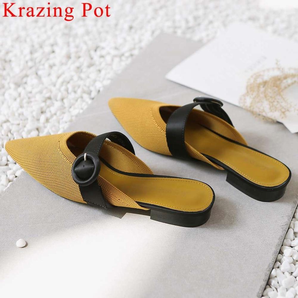 Krazing ポットエレガントな女性混合色ニット本革ハリウッド映画スター混合色バックルベルトミュールスリッパ L39  グループ上の 靴 からの スリッパ の中 1