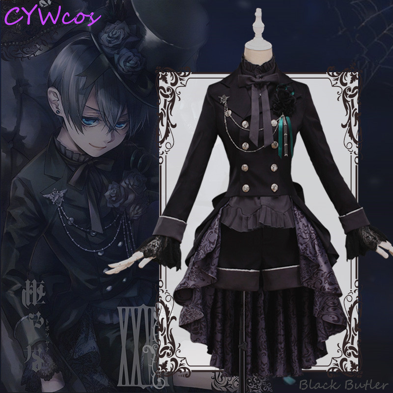 Black Butler Ciel Phantomhive Anime Cosplay Costume Black Rose Dress Halloween Costumes Women Dress Coat+Shirt+Shorts+Hat+Gloves