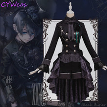 Butler negro Ciel Phantomhive Cosplay del Anime negro vestido rosa mujeres  visten trajes de Halloween capa 6770d1f8b8f6