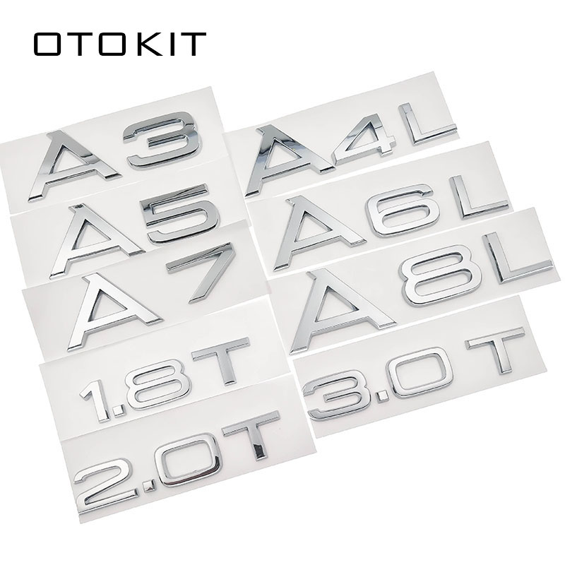 1,8 T 2,0 T 3,0 T 3,2 3,6 4,2 A3 A5 A7 A4L A6L A8L буквенный номер Хромированная Эмблема багажника автомобиля разрядный значок Логотип 3D наклейка