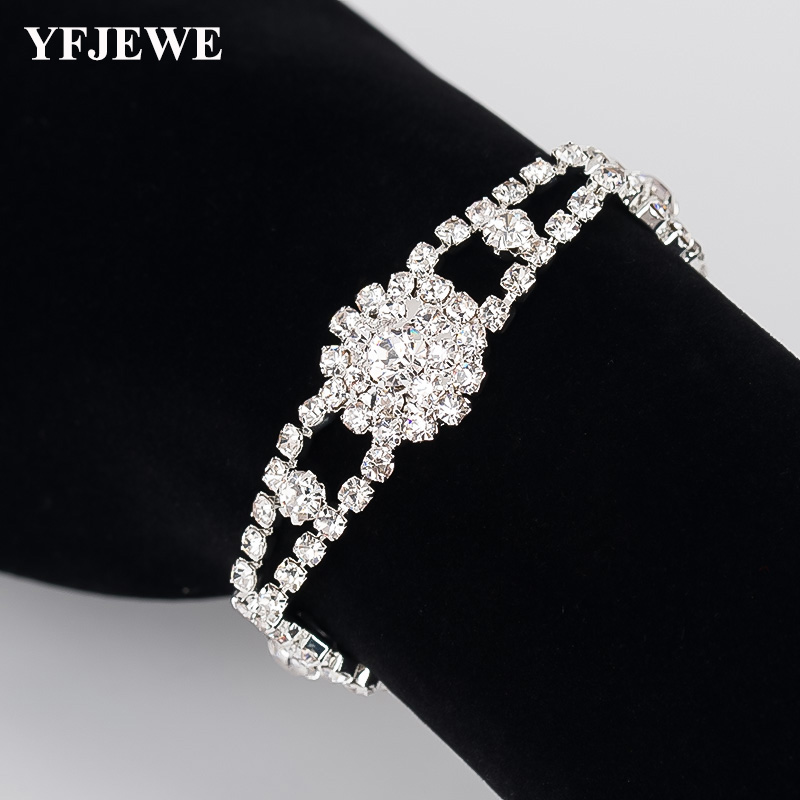 YFJEWE Women Wholesale Braslet Linked Jewelry Bracelets Silver Color Chain Link Bracelets For Girl Wedding Christmas Gifts B181