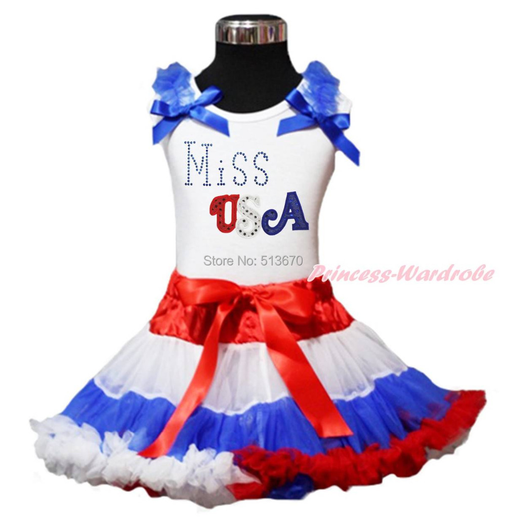 4th July Patriotic Rhinestone Miss USA White Top RWB Skirt Girl Clothing 1-8Year MAPSA0594 the daily village perfect canada white skirt turquoise barely there tops wear hollywood miss picture universe panache bikini