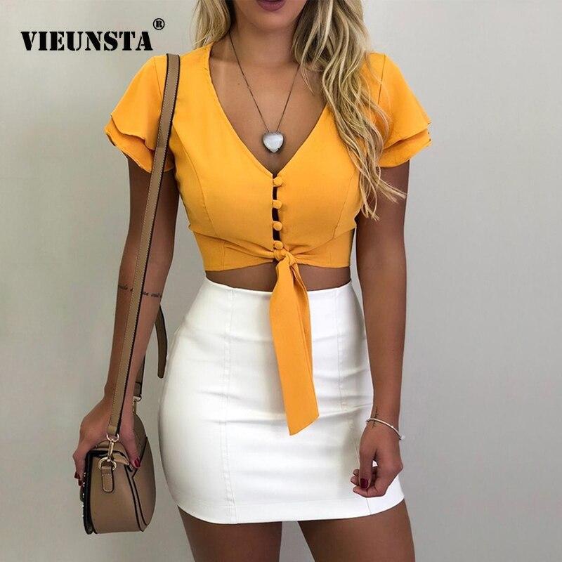 VIEUNSTA Women   Blouses   New Fashion Button V-neck Office   Shirt   Chiffon   Blouse   Sexy Butterfly Sleeve Short Tops Slim Summer Blusas