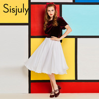 Sisjuly 60s Vintage Dress Burgundy White Patchwork Party Dresses O Neck Short Sleeve Sashes Women Retro
