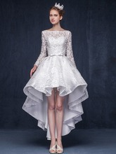 Elegant Evening Dress 2019 New Bateau Neck Beading Bowknot High Low Lace Special Occasion Prom Party Gowns robe de soriee