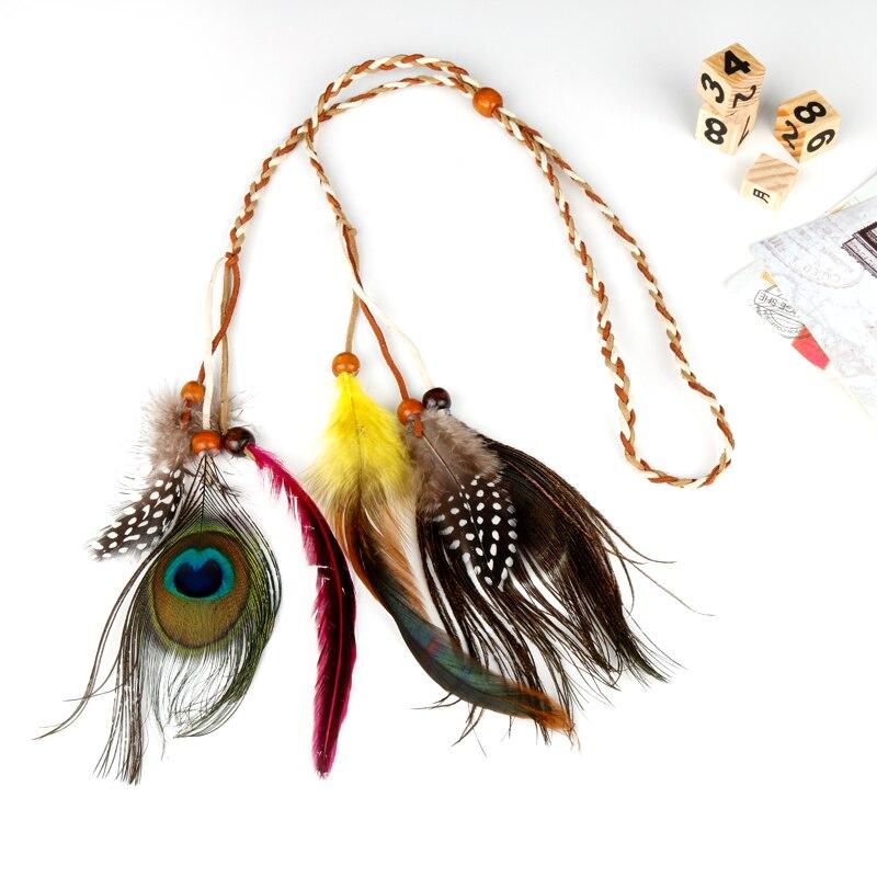 HANCHANG Bohemian Headband Headdress Peacock Feather Headbands Indian Hippie Women Hair Accessories Headdress Hair Bands
