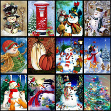 5D Full Square Diamond Painting Mosaic Handmade Winter Scenery Cross Stitch Diamond Diamond Embroidery Christmas Decor Landscape