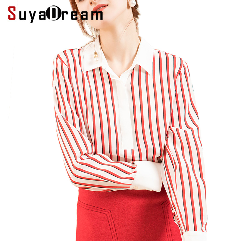 Women Silk Blouse 18MM 100 Real Silk Crepe Long Sleeved Red Striped Office Lady Blouses for