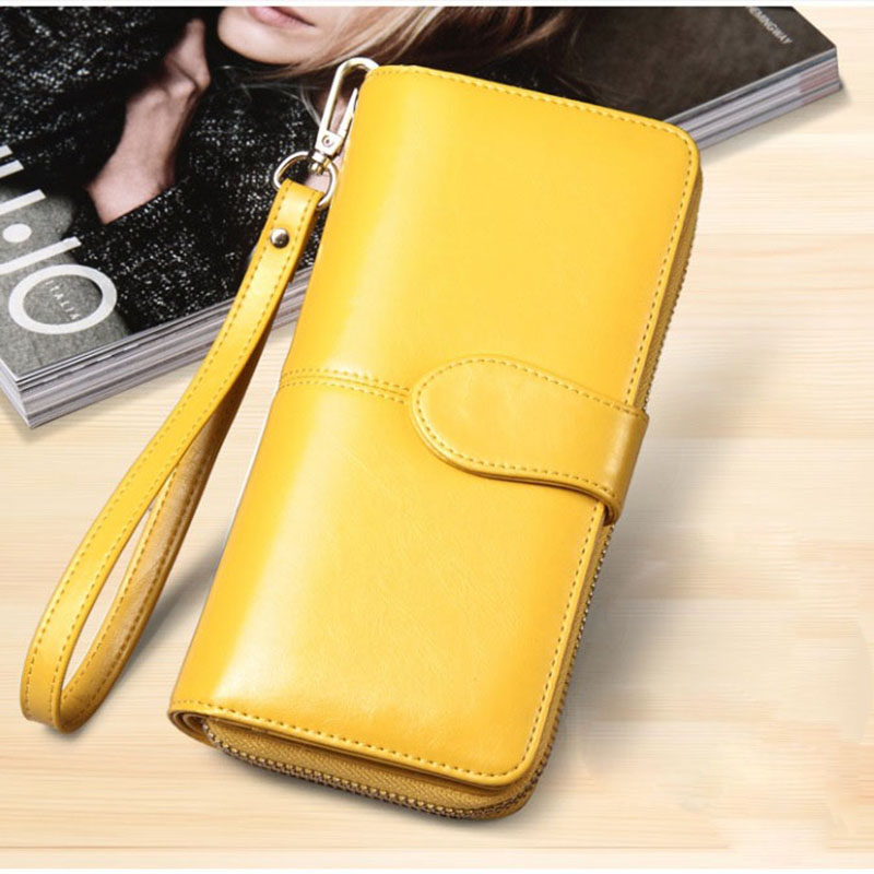 1pc Oil Wax Leather Fashion Hasp Long Coin Purse Money Pocket Long Hand Bag With Vintage Card Bag For Women
