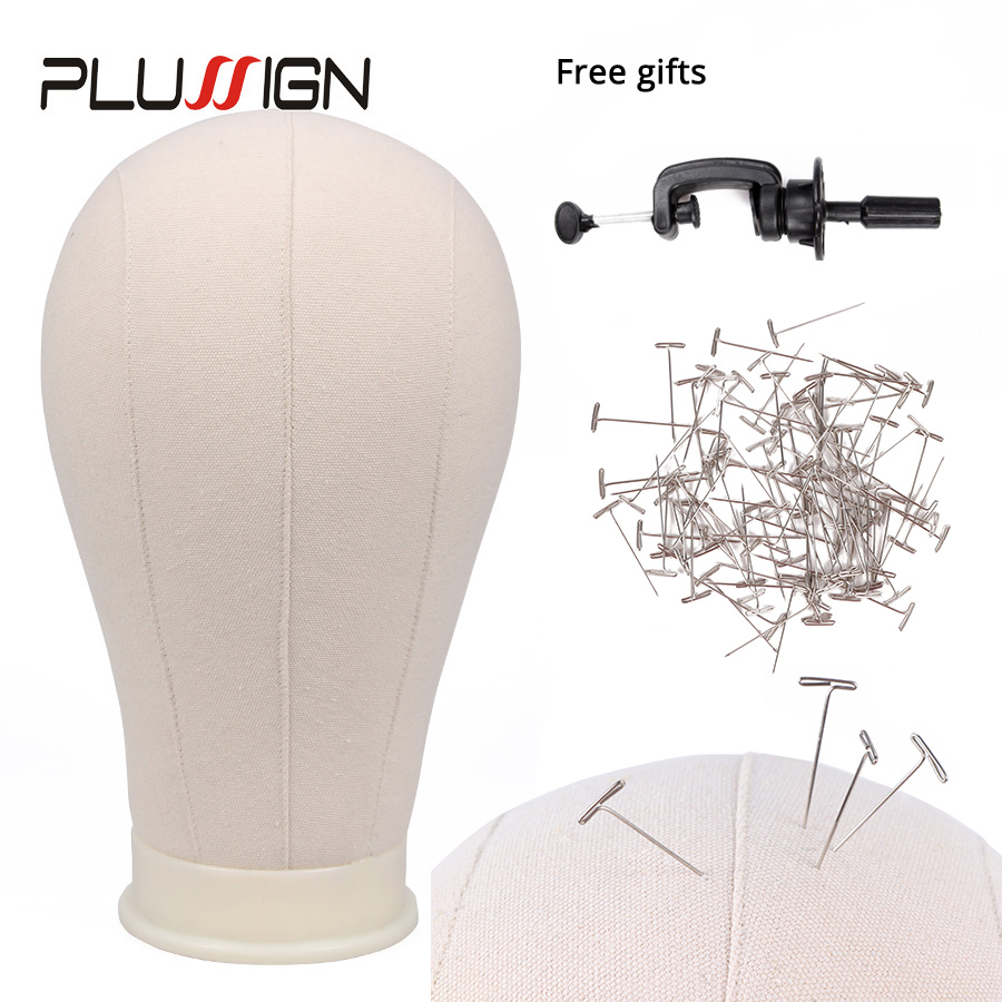 22 Professional Canvas Block Mannequin Head Kits For DIY Wig making,closure,frontal making and holding Wigs,Hats or Display 22 INCH Pink