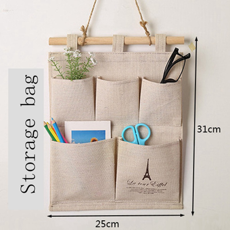 Linen Cotton 5 Pockets Wall Door Closet Hanging Storage Bag Organizer Bedroom Toiletry Hook Cloth Pouch Office Magazine Wardrobe