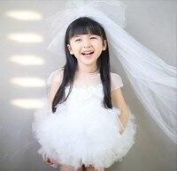 La alta calidad Del Bebé muchachas de Los Cabritos minion elegante popular de la princesa Del Arco de Flores vestido de Novia Romántica vestido de Noche Formal Del Partido de baile