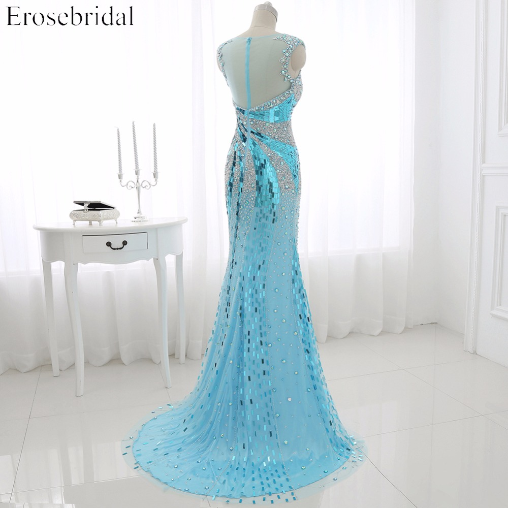 2016 Real Photo Perla Tulle Mermaid Prom Dress Scoop Neck Sequined - Haljina za posebne prigode - Foto 4