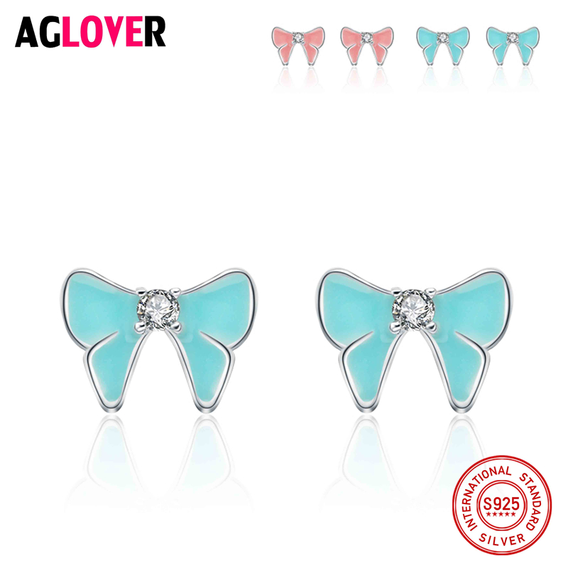 AGLOVER Real 925 Sterling Silver Charm Sparkling Bow Stud Earrings For Women Jewelry Authentic Fashion Gift