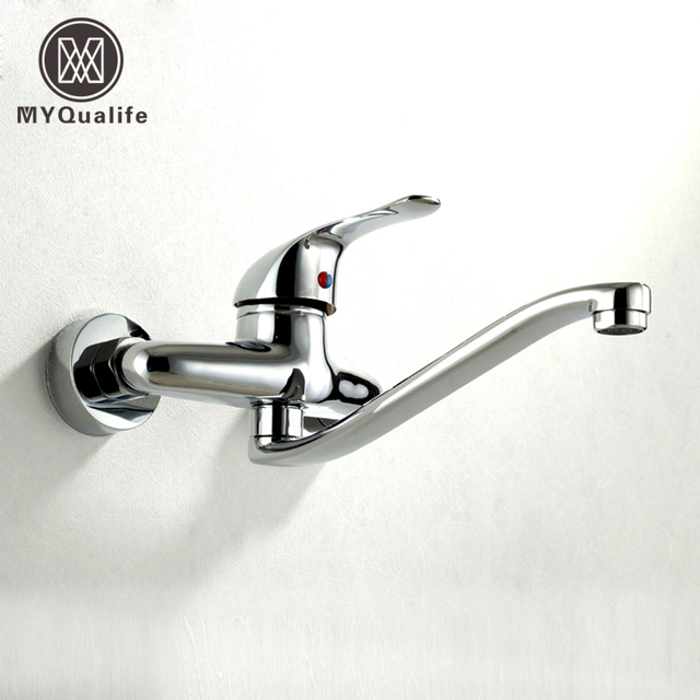Single Handle Rotary Kitchen Sink Faucet Wall Mount Brass Chrome ...
