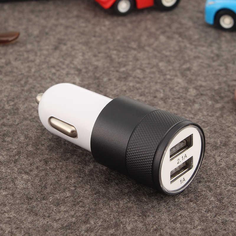 Universal dupla usb adaptador de carregador de carro metal plana do telefone móvel universal carregamento 2.1 v pequeno canhão aço carregador de carro