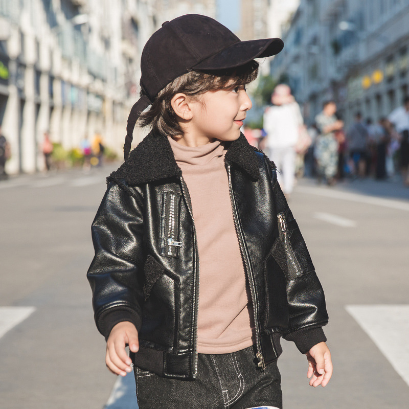 Pelt Suede Faux Leather Jacket with Fur Collar for Baby Boy Toddler Children's Thermal Fleece Coat Kids Clothes Outwear дуршлаг gipfel federica 1371