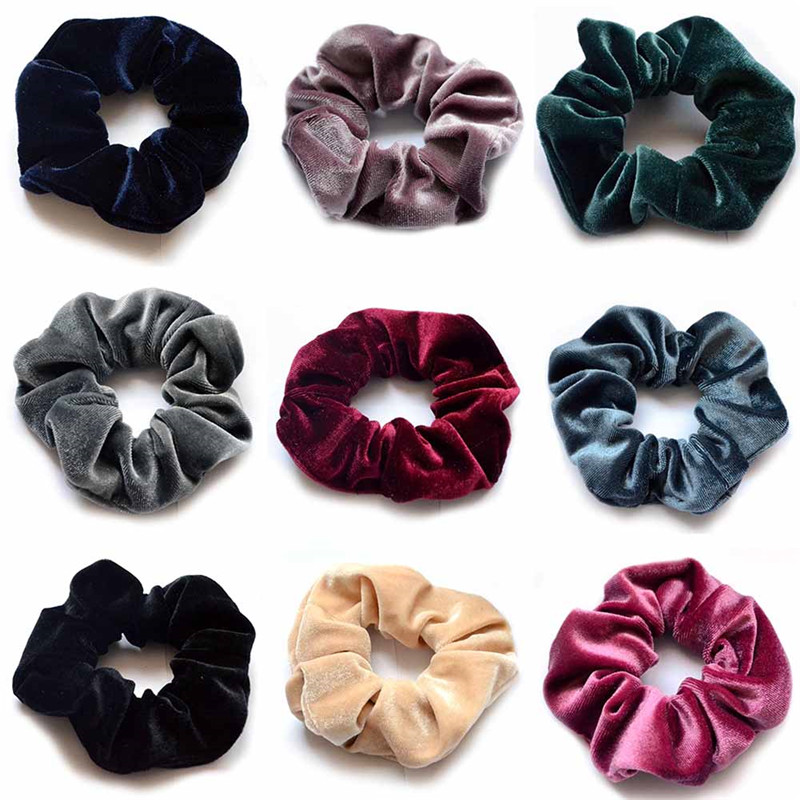 1PCS Women Fashion Solid Hair Elastic Hair Rubber Bands Girls velvet solid Hair Accessories For Hair